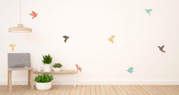 Αυτοκόλλητα Τοίχου - Σετ από εννιά χρωματιστά πουλάκια