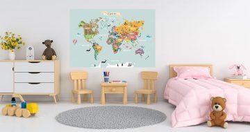Αυτοκόλλητα Τοίχου - Παγκόσμιος χάρτης στα αγγλικά