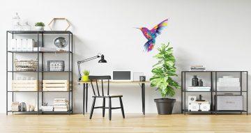 Αυτοκόλλητα Τοίχου - Κολιμπρί σε πολύ όμορφα χρώματα με ανοιχτά φτερά