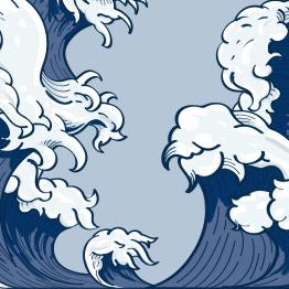 Καλοκαιρινή σύνθεση με ρεαλιστικά κύματα