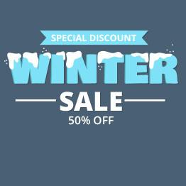Winter sale με χιονισμένα γράμματα και ποσοστό έκπτωσης