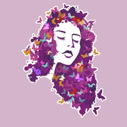 Όμορφη κοπέλα με πεταλούδες – Μωβ