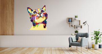 Αυτοκόλλητα Τοίχου - Σιλουέτα γάτας με όμορφα χρωματιστά σχεδιάκια