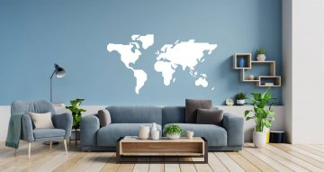 Αυτοκόλλητα Τοίχου - World map (Μονόχρωμος παγκόσμιος χάρτης)