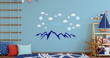 Αυτοκόλλητα Τοίχου - Προσωποποιημένο αυτοκόλλητο με βουνά και σύννεφα για αγόρι ή κορίτσι - Επιλέξτε το όνομα που επιθυμείτε