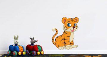 Αυτοκόλλητα Τοίχου - Πανέμορφο τιγράκι που χαμογελάει ( διαλέξτε προσανατολισμό )