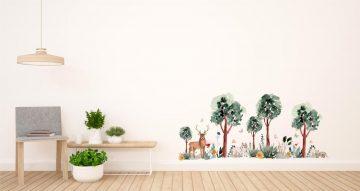 Αυτοκόλλητα Τοίχου - Όμορφη απεικόνιση δάσους με ζωάκια