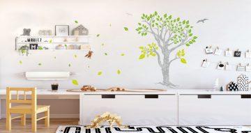Αυτοκόλλητα Τοίχου - Πανέμορφο δέντρο με σχεδιάκια