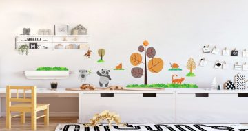Αυτοκόλλητα Τοίχου - Χαρούμενα ζωάκια και δεντράκια