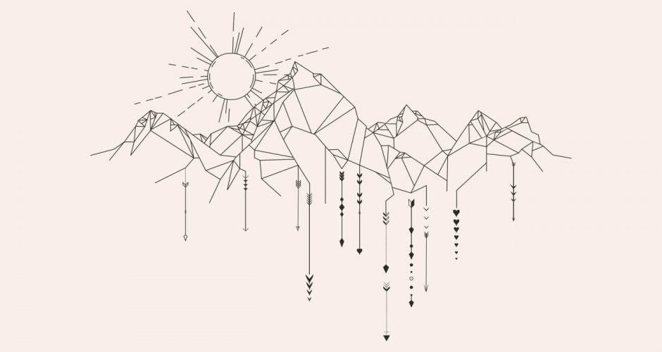 Αυτοκόλλητα Τοίχου - Πανέμορφη οροσειρά με ήλιο