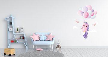 Αυτοκόλλητα Τοίχου - Μονόκερος με μπαλόνια και πεταλούδες