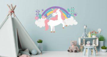 Αυτοκόλλητα Τοίχου - Παιδικό αυτοκόλλητο τοίχου - μονόκερος με ροζ μαλλιά