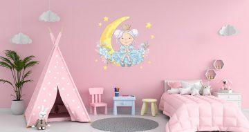 Αυτοκόλλητα Τοίχου - Πριγκίπισσα στο φεγγάρι