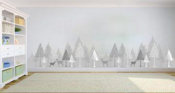 Αυτοκόλλητα Τοίχου - Πανέμορφη σιλουέτα δάσους με ζωάκια