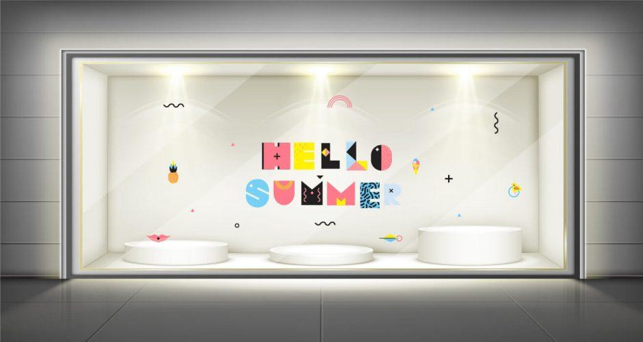 Αυτοκόλλητα καταστημάτων - Hello Summer