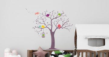 Αυτοκόλλητα Τοίχου - Δέντρο με χαρούμενα πουλάκια