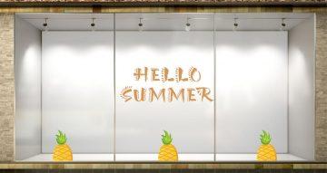 Αυτοκόλλητα καταστημάτων - Hello summer με ανανά