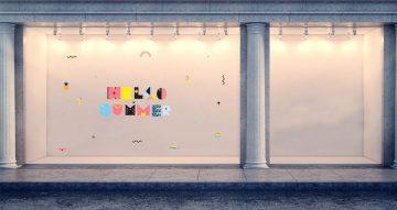 Αυτοκόλλητα καταστημάτων - Hello Summer - Αυτοκόλλητο Βιτρίνας με έντονα χρώματα