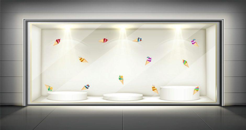 Αυτοκόλλητα καταστημάτων - Ice cream Collection - Αυτοκόλλητο Βιτρίνας με διάφορα παγωτά