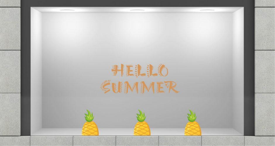 Αυτοκόλλητα καταστημάτων - Αυτοκόλλητο Βιτρίνας - Hello summer με ανανά