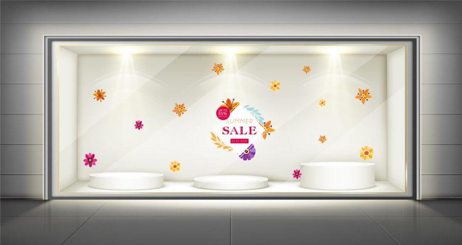 Αυτοκόλλητα καταστημάτων - Καλοκαιρινή προσφορά με λουλούδια