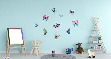Αυτοκόλλητα Τοίχου - Πολύχρωμες πεταλούδες