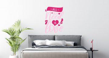 Αυτοκόλλητα Τοίχου - All you need is love pink