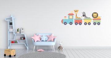 Αυτοκόλλητα Τοίχου - Τρενάκι με βούλες και αστεράκια