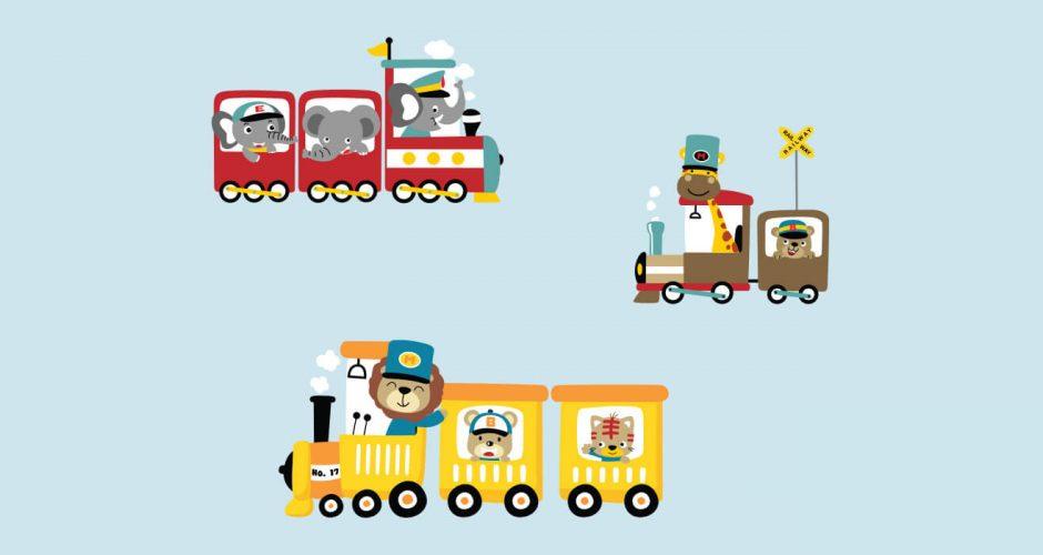 Αυτοκόλλητα Τοίχου - Τρενάκι με ζωάκια