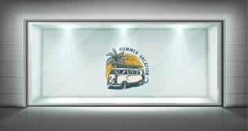 Αυτοκόλλητα καταστημάτων - Summer vacation με βανάκι