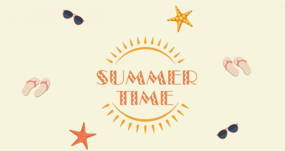 Αυτοκόλλητα καταστημάτων - Summer time με διάφορα καλοκαιρινά αντικείμενα