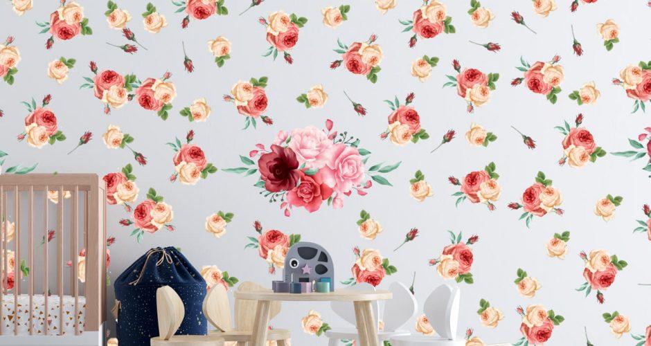 Floral - Αυτοκόλλητο τοίχου - Summer flowers (καλοκαιρινά λουλούδια)