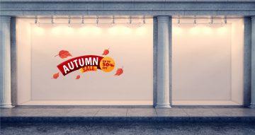 Αυτοκόλλητα καταστημάτων - Αυτοκόλλητο Φθινοπωρινών εκπτώσεων Autumn sale με φύλλα με το δικό σας ποσοστό