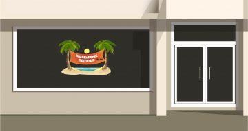 Αυτοκόλλητα καταστημάτων - Καλοκαιρινες εκπτωσεις με νησάκι και φοίνικες με το δικό σας ποσοστό