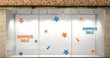 Αυτοκόλλητα καταστημάτων - SUMMER SALE με αστερίες και κοχύλια με το δικό σας ποσοστό