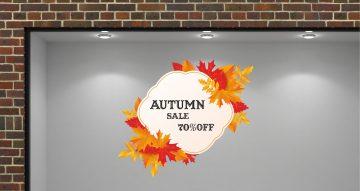 Αυτοκόλλητα καταστημάτων - Autumn sale με φθινοπωρινά φύλλα με το δικό σας ποσοστό