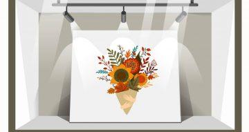 Αυτοκόλλητα καταστημάτων - Μπουκέτο με Φθινοπωρινά λουλούδια