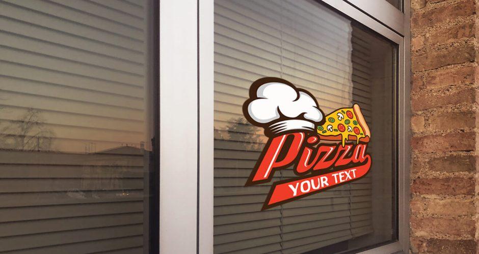 Αυτοκόλλητα καταστημάτων - Delicious  pizza με την δική σας φράση