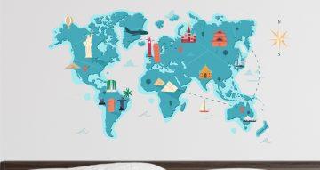 Αυτοκόλλητα καταστημάτων - Παγκόσμιος χάρτης με αξιοθέατα
