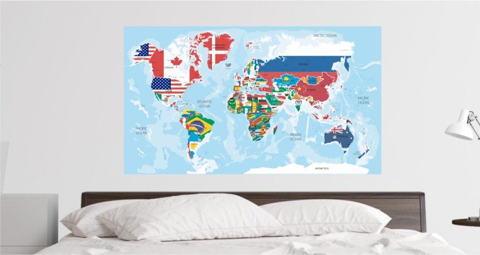 Αυτοκόλλητα καταστημάτων - Παγκόσμιος χάρτης με σημαίες
