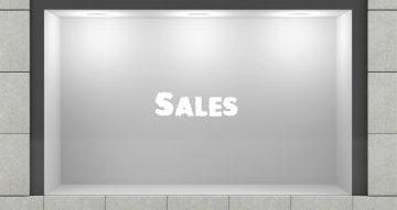 """Αυτοκόλλητα καταστημάτων - Απλό αυτοκόλλητο """"Sales"""" χωρίς ποσοστό έκπτωσης"""