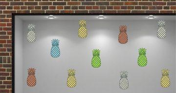 Αυτοκόλλητα καταστημάτων - Pineapple mix - Αυτοκόλλητο Βιτρίνας με πολλούς χρωματιστούς ανανάδες