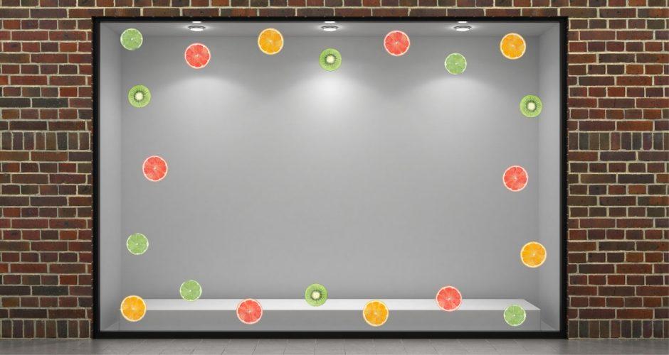 Αυτοκόλλητα καταστημάτων - Summer fruit slices - Αυτοκόλλητο Βιτρίνας με διάφορα φρούτα