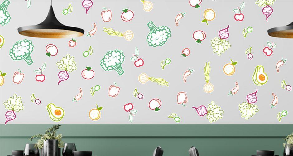 Αυτοκόλλητα καταστημάτων - Vegetables pattern