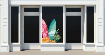 Αυτοκόλλητα καταστημάτων - Surfing mood - Αυτοκόλλητο Βιτρίνας με σανίδες του surf
