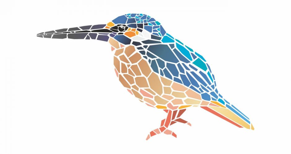 Αυτοκόλλητα Τοίχου - Colibri mosaic (κολιμπρί)