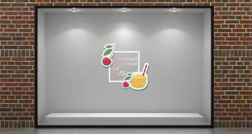 Αυτοκόλλητα καταστημάτων - Καλοκαιρινές εκπτώσεις cherry cocktail με το δικό σας ποσοστό