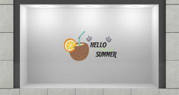 """Αυτοκόλλητα καταστημάτων - """"Hello Summer"""" coconut drink"""