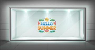 """Αυτοκόλλητα καταστημάτων - Καλοκαιρινή Διακόσμηση Βιτρίνας Hello summer """"watermelon"""""""