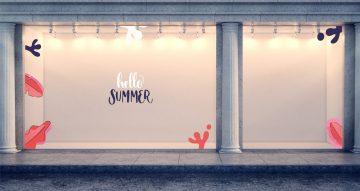 """Αυτοκόλλητα καταστημάτων - Καλοκαιρινή Διακόσμηση Βιτρίνας - Hello summer """"βυθός"""""""